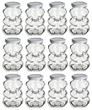 Nakpunar 9 oz Glass Bear Jars with Lids for Honey, Candies, Piggy Banks (12, White)
