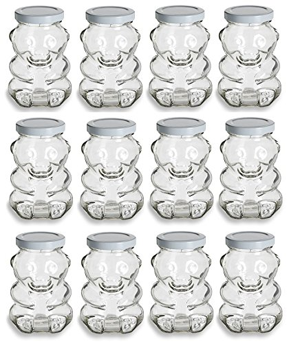 Nakpunar 9 oz Glass Bear Jars with Lids for Honey, Candies, Piggy Banks (12, White)