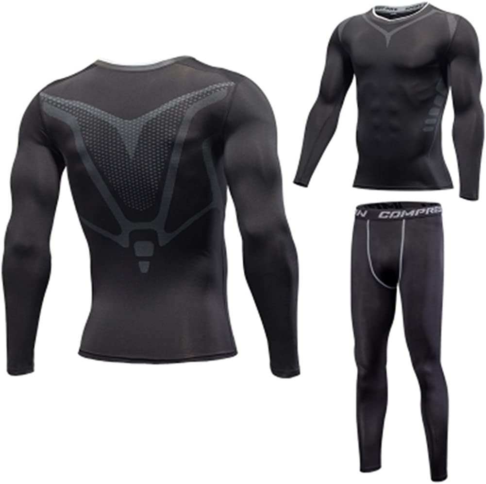 DemoLa 2Pcs Mens Running Fitness Elastic Slim Compression Base Layer Long Sleeve Quick Dry Top /& Pants Sweatsuits Set