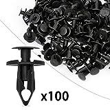 #10: Ocr8mm Push Hole Retainer Black Nylon Push Type Fastener Rivet Assortment Kit 100pcs for Ford Toyota Honda Chrysler (8mm-100pcs)