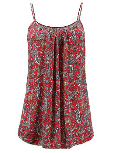 7th Element Womens Plus Size Cami Basic Camisole Tank Top (Floral Print Red,3XL)