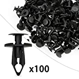 Ocr8mm Push Hole Retainer Black Nylon Push Type Fastener Rivet Assortment Kit 100pcs for Ford Toyota Honda Chrysler (8mm-100pcs)