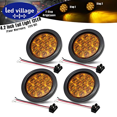 [Pack of 4] 4 Inch LedVillage Amber LED Round Clearance Indicator Marker Tail Light with Grommet & Prong-Plug for Trailer Lorry Caravan Truck Bus Tractor Cabin Jeep Universal 12V DC -