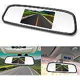 LeeKooLuu Video Rear View Mirror Monitor Car Auto Rear View 4.3 Dispaly Universal Mount Clip-On Current Mirror 2 Ways RCA Input