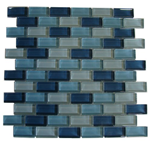 Interceramic INSBG1X2ARC Shimmer Blends Glass Mosaic Tile, 1-by-2-Inch Tile on a 12-by-12-Inch Mosaic Mesh, Arctic Gloss -