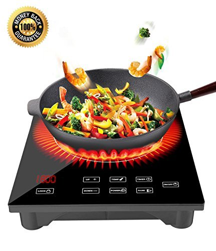 Induction Cooktop Portable 1800W Sensor Touch Electric Cooker Countertop Burner with LED Display, Timer and Locker for Cooking
