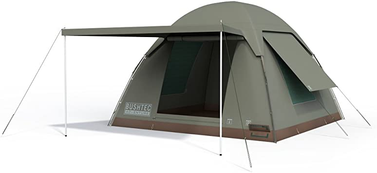 Bushtec Adventure Alpha Kilo 4000 Canvas 6 Person Bow Tent, Camping Tent and Outfitter Tent with Waterproof and fire Retardant Ripstop Canvas.