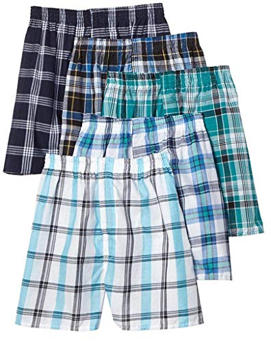 Fruit of the Loom Boys' 5Pack Covered Waist Plaid Boxers Underwear XL