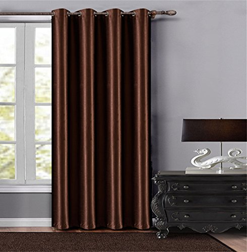 13 Panel Room Dividers - Dreaming Casa Solid Room Darkening Extra Wide Width Curtains Grommet Top Window Draperies 63 Inches Long Blackout Light Reducing Room Divider 1 Panel Chocolate 100