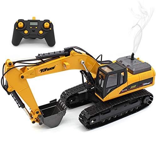 Top Race 23 Channel Full Functional Remote Control Excavator Construction Tractor, Full Metal Excavator Toy Can Carry up to 180 Lbs, Digging Power of 1.1 Lbs Per Cubic Inch, Real Smoke, V.3 TR-211M