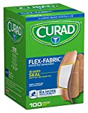 Curad Flex-Fabric Assorted Self-Adhesive-Bandages, 100 Count (Pack of 6)