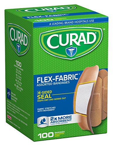 - Curad Flex-Fabric Assorted Self-Adhesive-Bandages, 100 Count (Pack of 6)