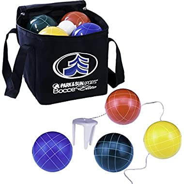 Park & Sun Sports Bocce Ball Set with Deluxe Carrying Bag: PRO Elite, 109 mm Poly-Resin Balls