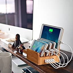 Outtek CS007 40W 5-Port USB Bamboo Charging Station with Apple Watch Stand for Smartphones and Tablets