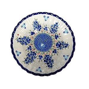 Lidia's Polish Pottery 251212B Plate Blueberry Polish Pottery Pie Baker, Stoneware, Blue