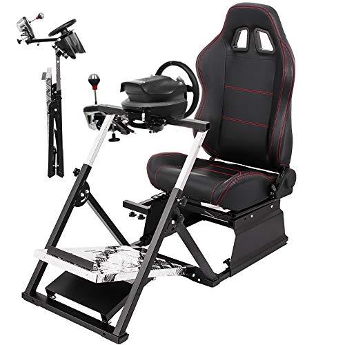 VEVOR Racing Simulator Cockpit G27/G29/G920/T500RS Racing Simulator Cockpit Gaming ChairV2 GT Adjustable Racing Seat Gaming Chair (Seat+Stand, T500RS)