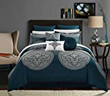 Chic Home 9 Piece Orchard Place Faux Silk Luxury Large Medalion Jacquard with embroidery details and trims Queen Comforter Set Blue