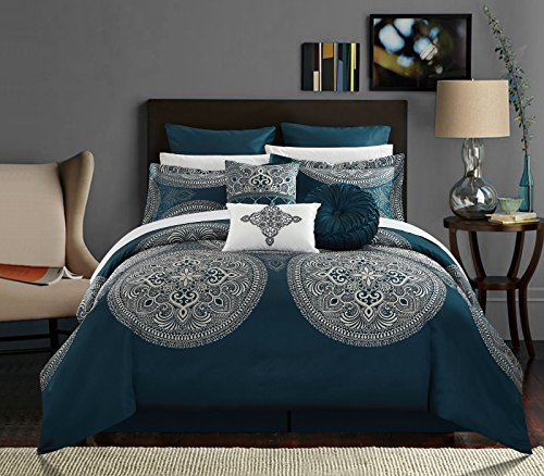Chic Home 9 Piece Orchard Place Faux Silk Luxury Large Medalion Jacquard with embroidery details and trims Queen Comforter Set Blue (Trim 9 Piece Set)