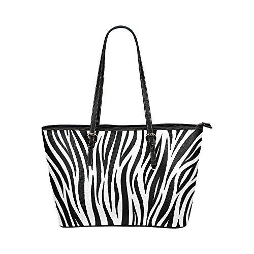 - InterestPrint Fashion Zebra Print Black and White Striped Women's Leather Tote Shoulder Bags Bulk Handbags