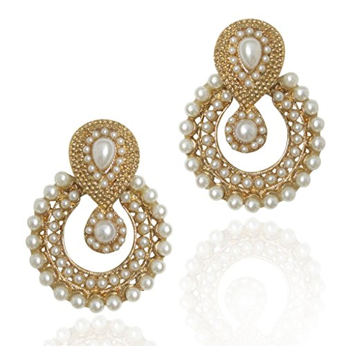Dancing Girl Women's Faux Pearl Traditional Ethnic Indian Earring White B332 ()