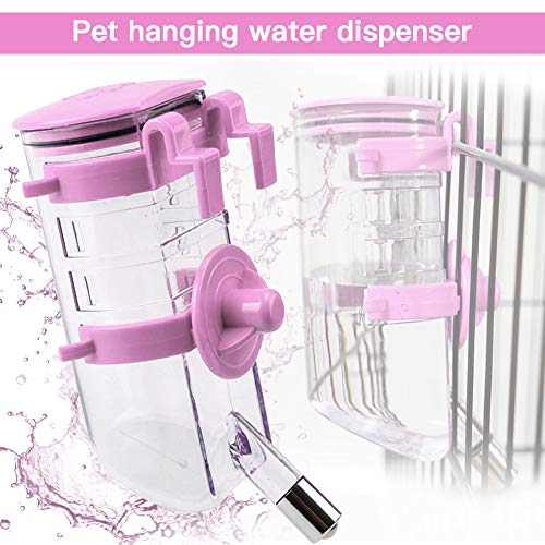 Yitour Dog Kennel Water Bottle Dispenser - Pink Big Cage Crate Dog Water Bottle(No Leak),Best Collapsible Automatic Water Drinking Feeder with Stainless Steel Ball(Pink,350ml)