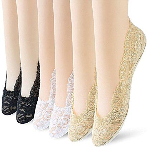 6 Pairs No Show Socks Women No Show Liner Socks Womens No Show Socks Thin Low Cut Casual Socks Non Slip(Black nude white 6pack)