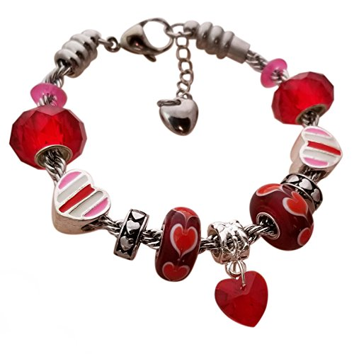 Valentine Charm Bracelet for Women & Girls, Steel Rope Chain and Glass Heart Charms, Red 6.5 Inch