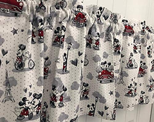 Red White and Gray Mickey Mouse Head Curtain Valance (Mickey Valance Mouse)