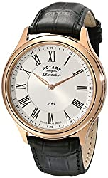 Rotary Men's gs02967/21/19 Rose Gold-Tone Stainless Steel Automatic Watch with Black Leather Band