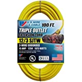 US Wire 76100 12/3 100-Foot SJTW Yellow Heavy Duty Extension Cord with Lighted Pow-R-Block by U.S. Wire & Cable/Flexon