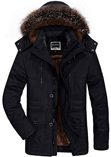 FGYYG Mens Winter Military Casual Hooded Fur Collar Thicken Cotton Coat with Removable Hood Middle-Long Faux Fur Lined Parka Jacket Uk7176-black