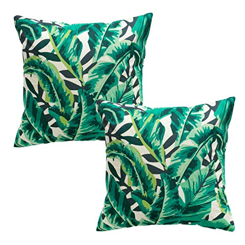 Yumin Tropical Plants Throw Pillow Case Cotton Blend Linen Cushion Pillow Case Square Cushion Cover 18x18 for Sofa,Bedroom,Holiday,Gifts,Home Decor(Design 5)
