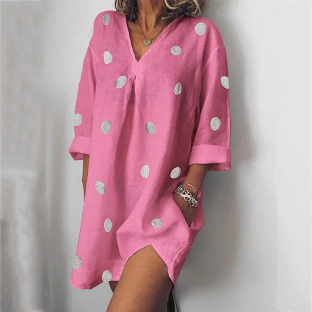 Ximandi Womens Holiday Boho Dot Print Summer Loose Pockets Beach Party Mini Dress