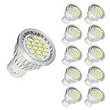 KINGSO GU10 LED Bulbs - 40W Halogen Bulbs Equivalent, 4W 550LM, 6000K, 120° Beam Angle, MR16 LED Light Bulbs, AC 85~165V, Pack of 10 - Pure White
