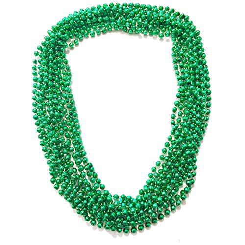 Elite Choice - 144 Green St. Patrick's Day Beaded Necklaces - 33 inch 7mm Round St Patricks Day Beads for Party's, Parades and Costume Accessories - Bulk Pack 144 Necklaces
