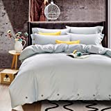 quilt covers - Bedding Duvet Cover Set Queen, 3 piece 1200TC Hotel Collection Luxury Hypoallergenic Microfiber Comforter Quilt Cover with Deco Buttons, Zipper, Ties - Modern Style for Men and Women, Light Grey Blue