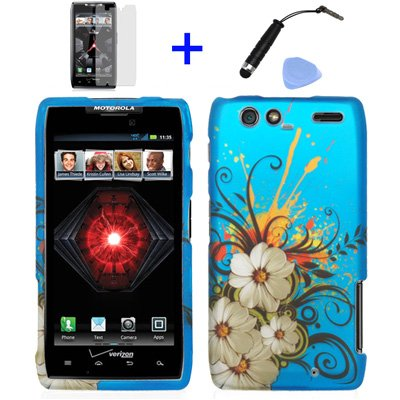 4-items-Combo-Stylus-Pen-Screen-Protector-Film-Case-Opener-Graphic-Case-Blue-Hawaiian-White-Flower-Green-Vine-Design-Rubberized-Snap-on-Hard-Cover-Protector-Shell-Faceplate-Skin-Case-for-Verizon-Motor