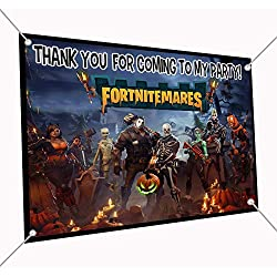 "FORTNITMARES Banner Video Game Large Vinyl Indoor or Outdoor Banner Sign Poster Backdrop, Party Favor Decoration, 30"" x 24"", 2.5' x 2', Fort Nightmares Halloween"