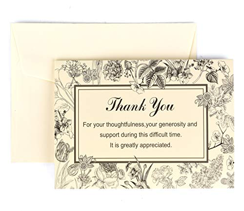 Funeral Thank You Cards with Envelopes - Floral Sympathy Acknowledgement Notes 25 Bulk Set Blank Inside For Personalized Thanks Message, 4 x 6 Folded Memorial & Appreciation