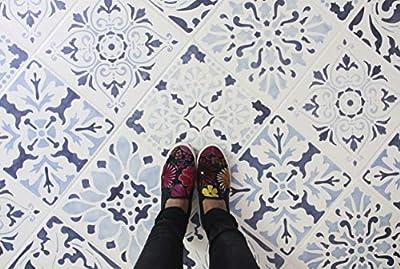Renaissance Tile Stencils Set B (Set of 3) Tile Designs to Paint on Kitchen Bathroom Floors