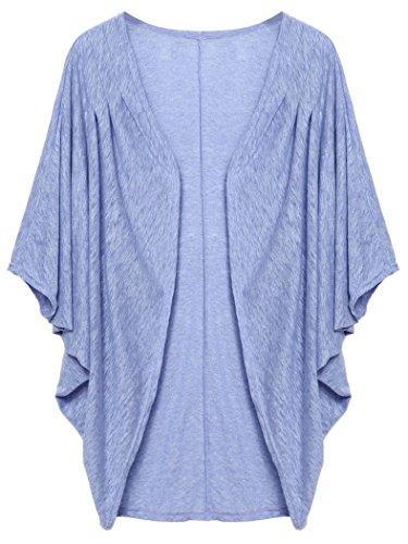 Qearl Women's Korean Batwing Sleeve Loose Oversized Long Cardigan Sweater (L, Light Blue)