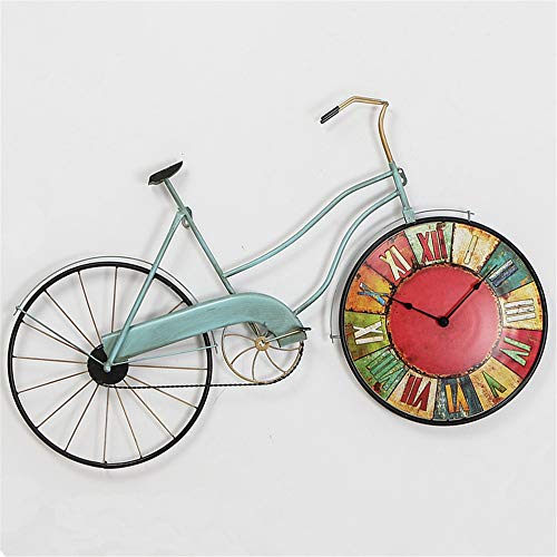 Aniie life Bicycle Wall Clock Wrought Iron Creative Retro Nostalgic Clock American Country Cafe Decorated Wall Clock (Bb02 Table)