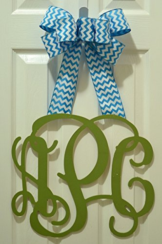 Black Burlap Chevron Monogram Door Hanger Wreath - LOTS OF COLORS