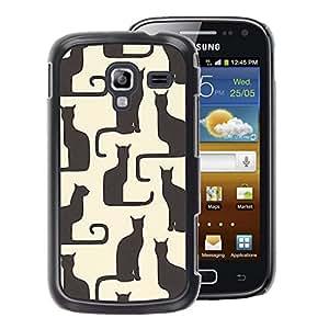 A-type Arte & diseño plástico duro Fundas Cover Cubre Hard Case Cover para Samsung Galaxy Ace 2 (Art Beige Black Yellow Kitten Pattern)