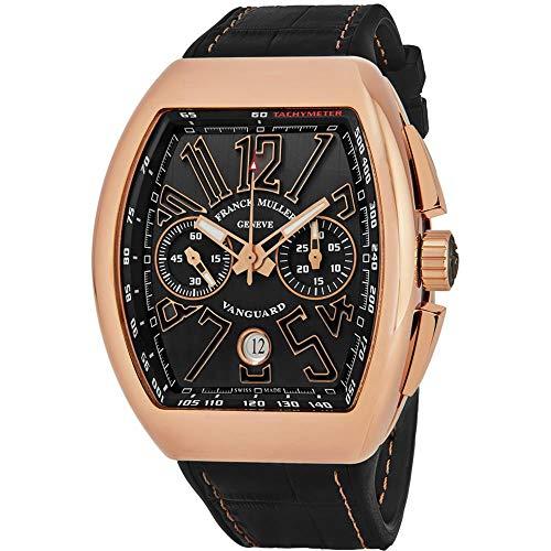 Franck Muller Men's Vanguard Black Leather Band 18K Rose Gold Case Automatic Analog Watch 45CCGLDBLKGLD