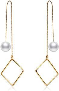 Threader Earrings for Women/Girls - Minimalist Geometric Square Dangles - Mall of Style