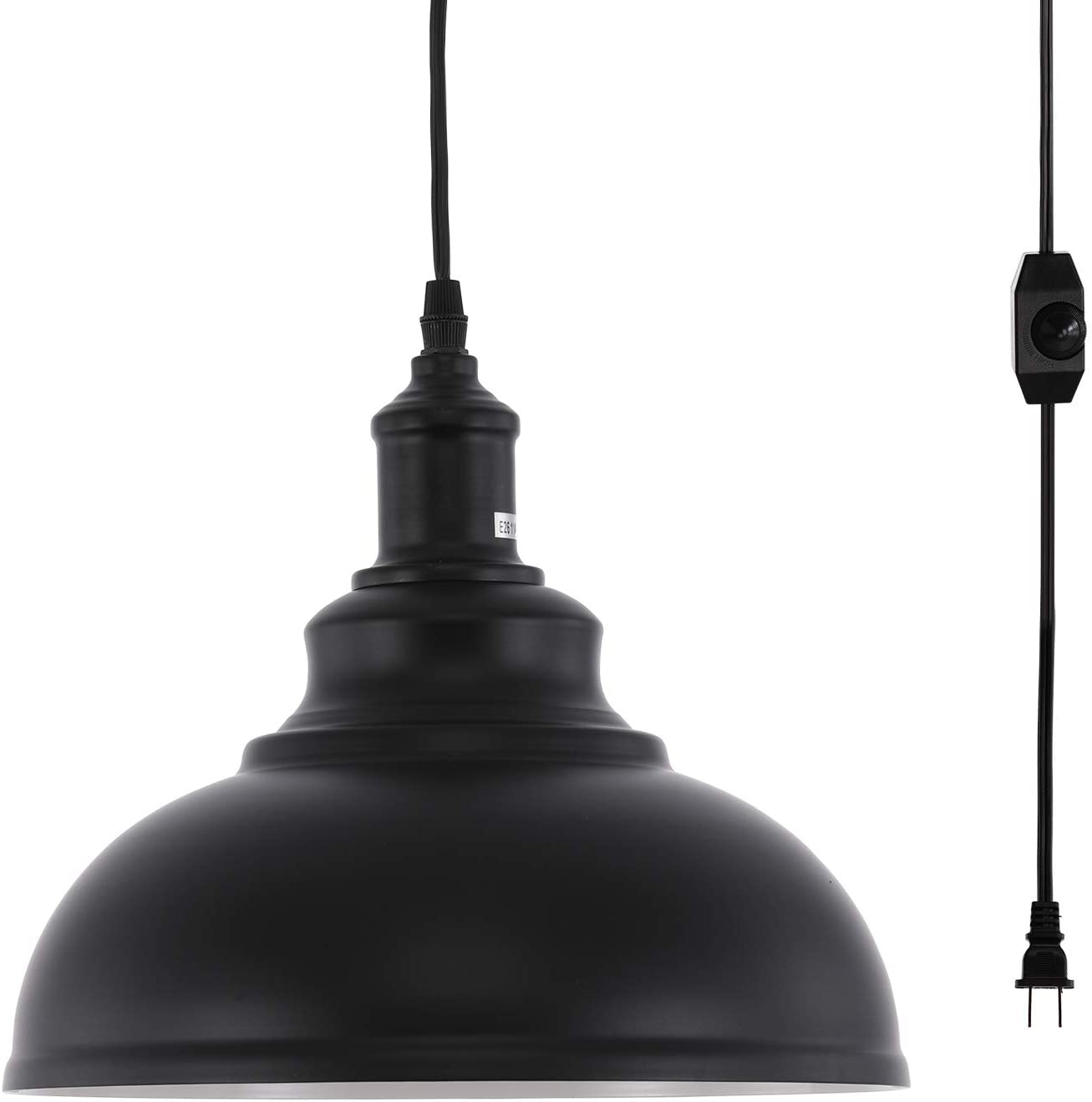 HMVPL Industrial Barn Pendant Light with Plug in Cord and On Off Dimmer Switch, Metal Hanging Ceiling Lamp for Kitchen Island, Dining Room, Bedroom or Barn
