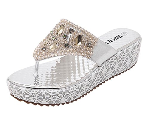 Maybest Womens's Bohemia Rhinestone Beads Thong Sandals Casual Beach Shoes Wedges Flip Flop (Silver 9 B (M) US)