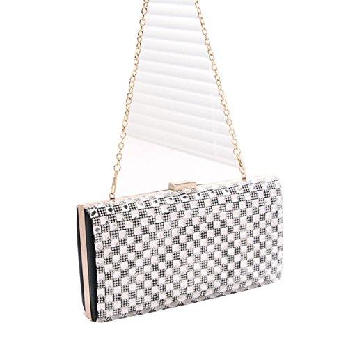 Frauen Glitter Pailletten Handtaschen-Partei-Abendbeutel Umschlag-Geldbeutel Wallet Black dwXO7THd