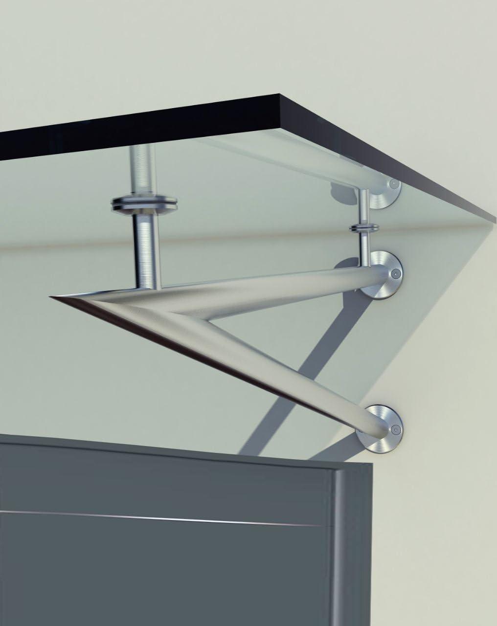 Edelstahlhalter Typ - V, 170x90cm Glasvordach Vordach Pavillion T/ürvordach Haust/ürvordach VSG-Glas inkl Glaszentrum Hagen
